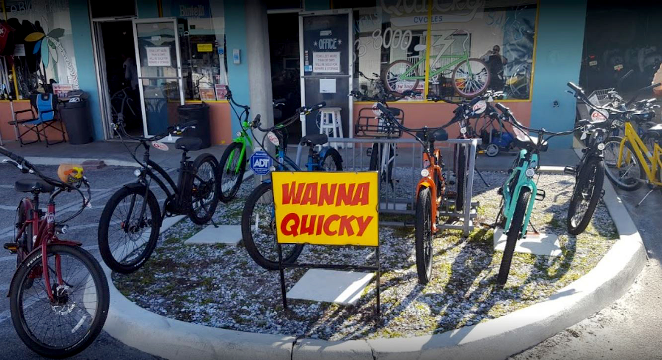 BIkes in front of Quicky Cycles- wanna quicky sign-bike safety page