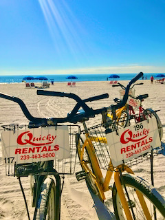 bikes parked on the beach